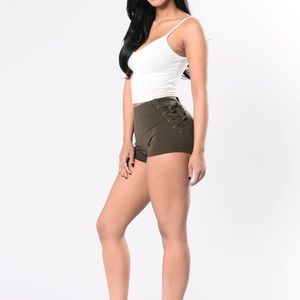 NWT Fashion Nova OutofNowhere LaceUp Shorts Olive